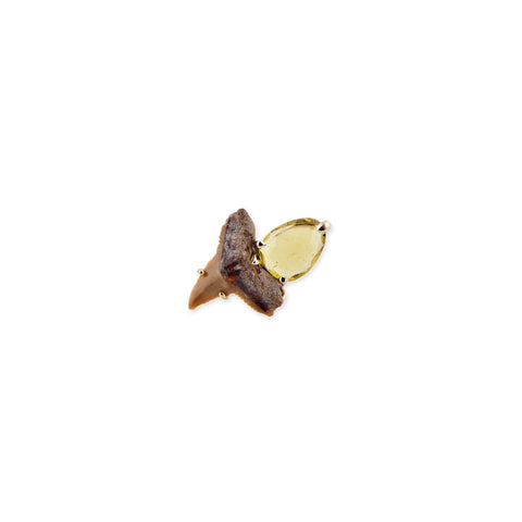 CITRINE SHARK TOOTH STUD