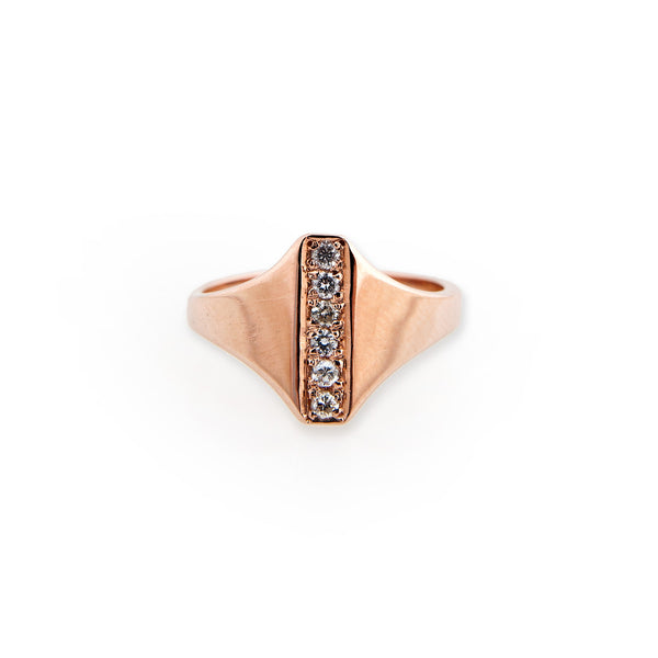 DIAMOND BAR SIGNET RING