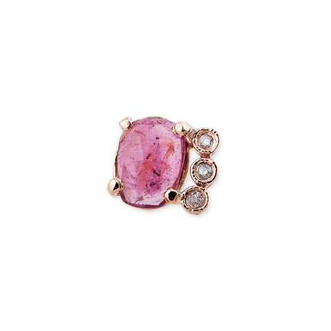 3 DIAMOND PINK TOURMALINE STUD