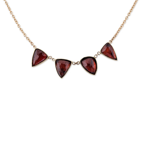 4 GARNET TRIANGLE NECKLACE