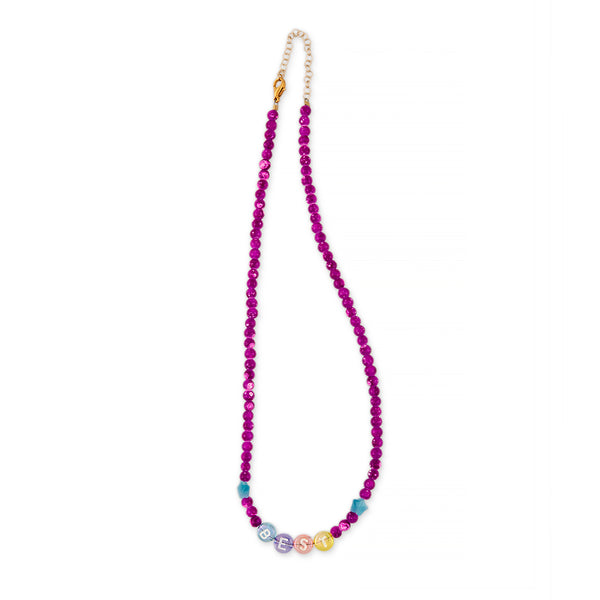 ZOE AICHE STAR FUCHSIA BEADED BEST NECKLACE