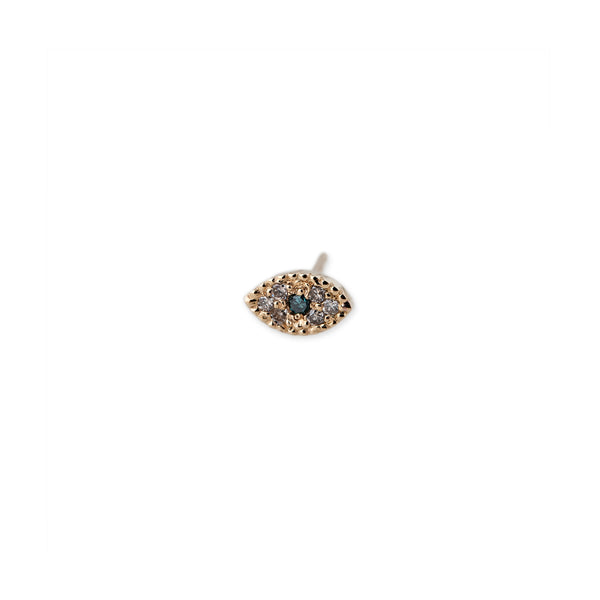 PAVE BLUE DIAMOND MINI EYE STUD