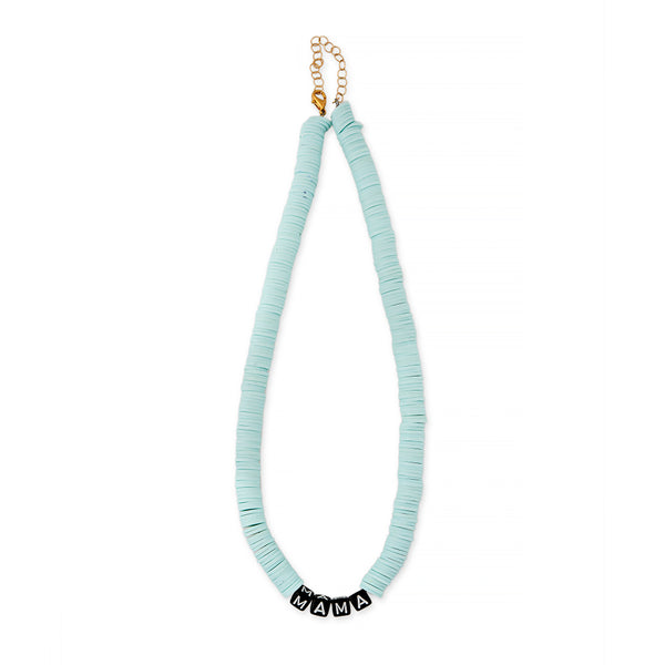 ZOE AICHE LIGHT BLUE HEISHI BEADED MAMA NECKLACE