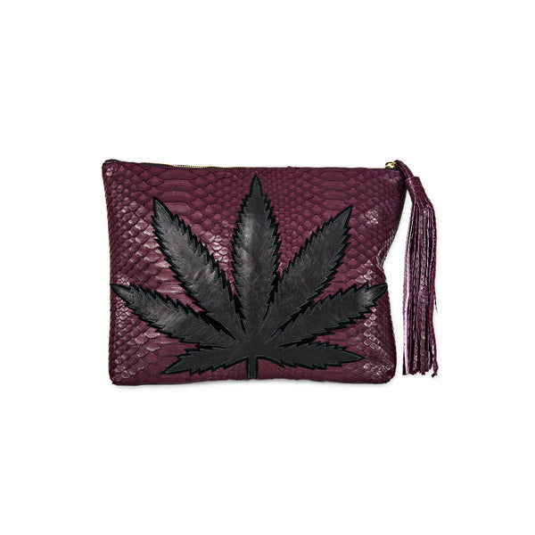 SWEET LEAF CLUTCH - BLACK + BURGUNDY