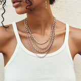 LARGE ALTERNATING PAVE DIAMOND CHAIN LINK NECKLACE