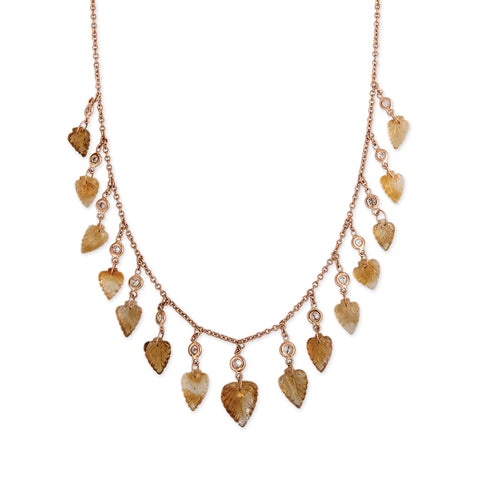 15 DIAMOND CITRINE LEAF SHAKER NECKLACE