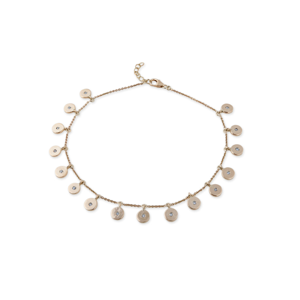 jewelry lyst aiche in spaced metallic five jacquie out anklet diamond