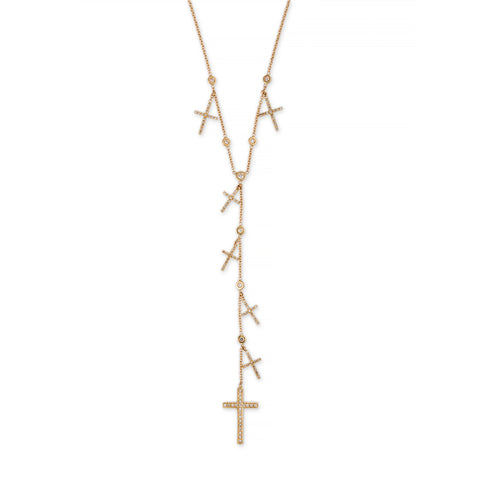 PAVE CROSS SHAKER Y NECKLACE