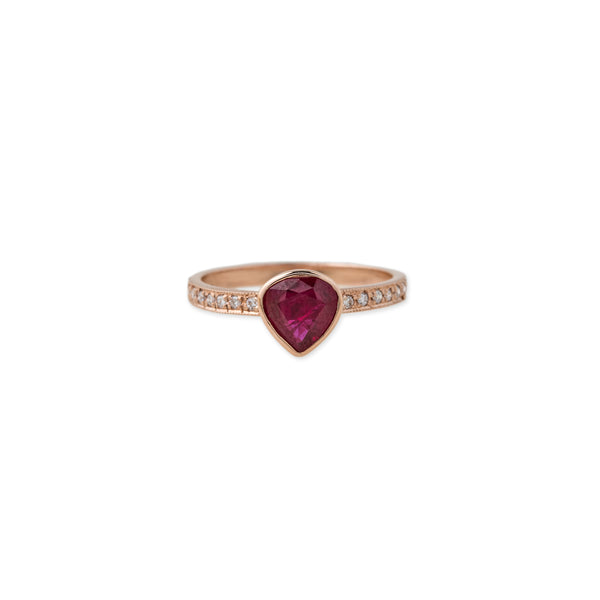 PAVE BAND FREEFORM RUBY TRIANGLE RING