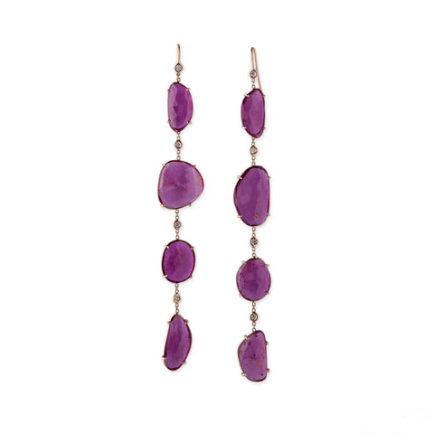 4 DIAMOND 4 RUBY DROP EARRINGS