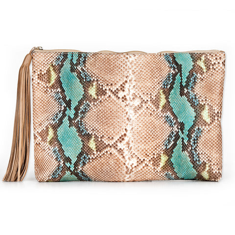 TASSLE CLUTCH - TURQUOISE