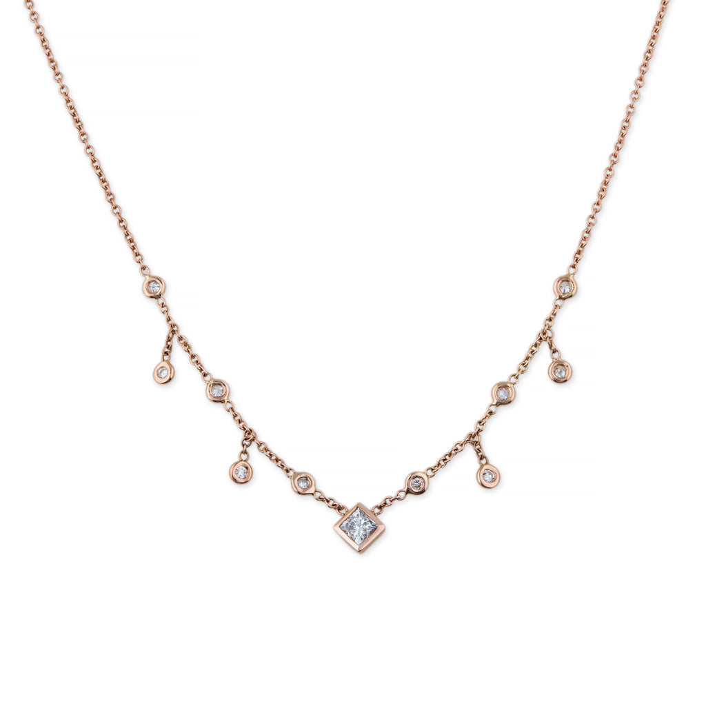 PRINCESS DIAMOND CENTER HALF SHAKER NECKLACE