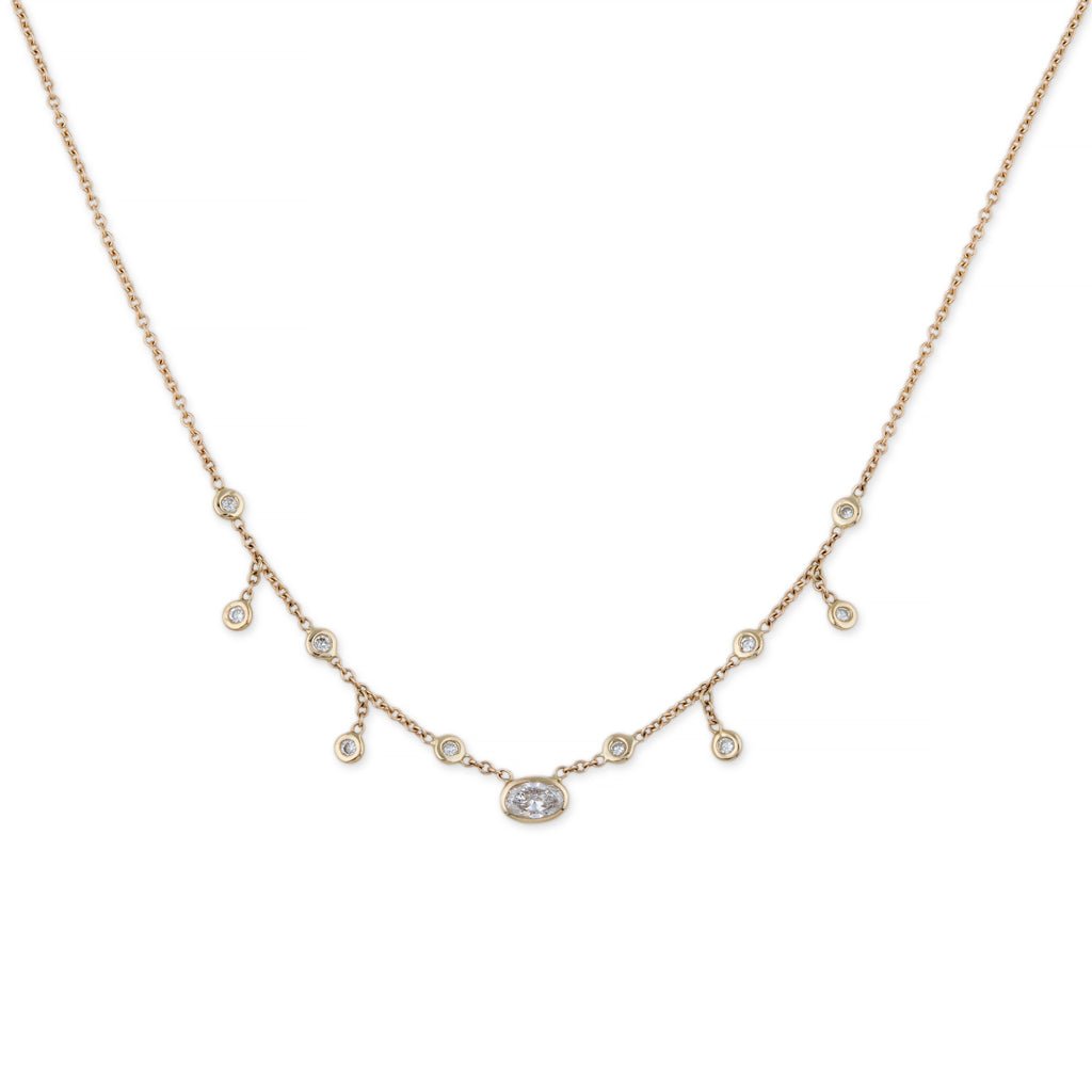 OVAL DIAMOND CENTER HALF SHAKER NECKLACE
