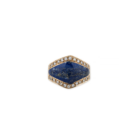 PAVE DIAMOND LAPIS INLAY V RING