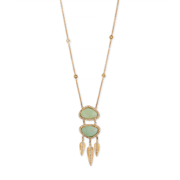 SMALL PAVE DOUBLE TRIANGLE GREEN CALCITE MINI FEATHER NECKLACE