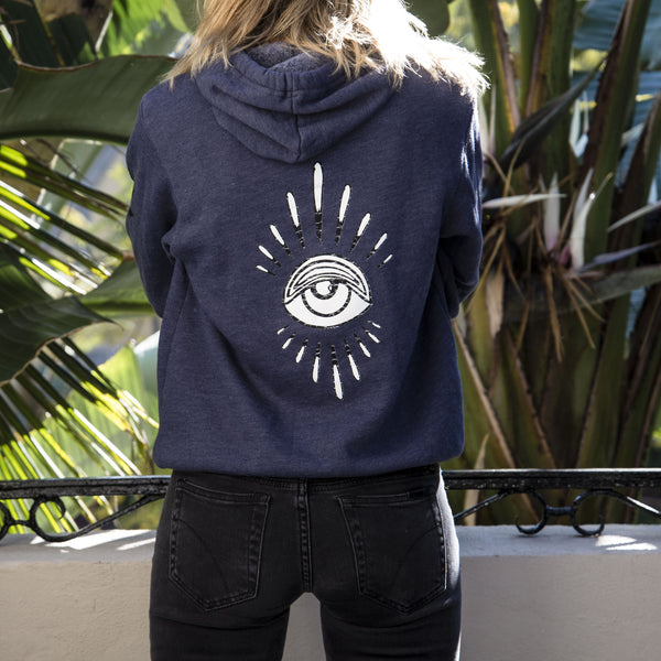 EYE BURST + SWEET LEAF NAVY HOODIE