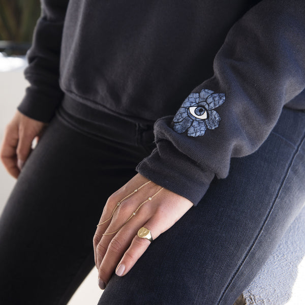 SWEET LEAF + FLOWER EYE CHARCOAL CREWNECK