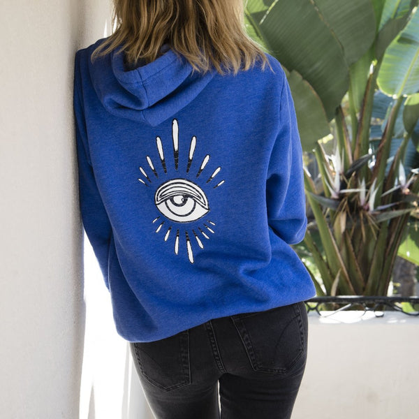 EYE BURST + FLOWER EYE BLUE HOODIE