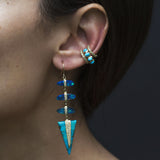 3 OPAL SLICE PAVE DRIP TURQUOISE TRIANGLE DROP EARRINGS