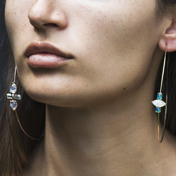 LABRADORITE AND AQUAMARINE BAR HOOPS