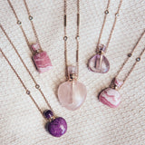 ROSE QUARTZ LARGE ROUND POTION BOTTLE NECKLACE