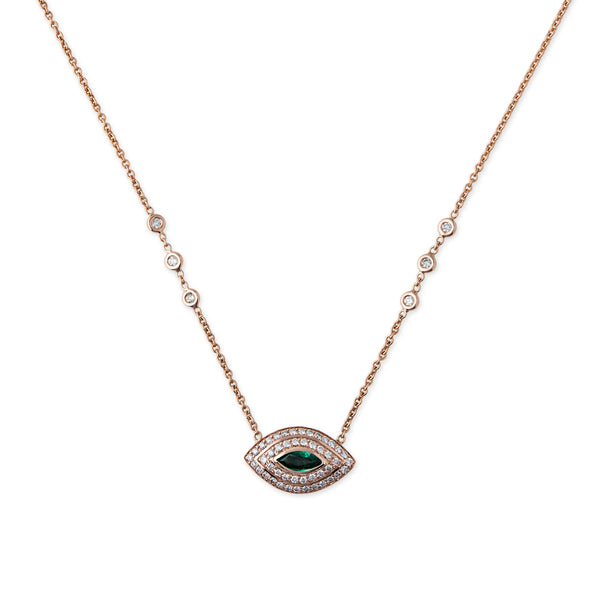 DOUBLE HALO PAVE EMERALD MARQUISE EYE