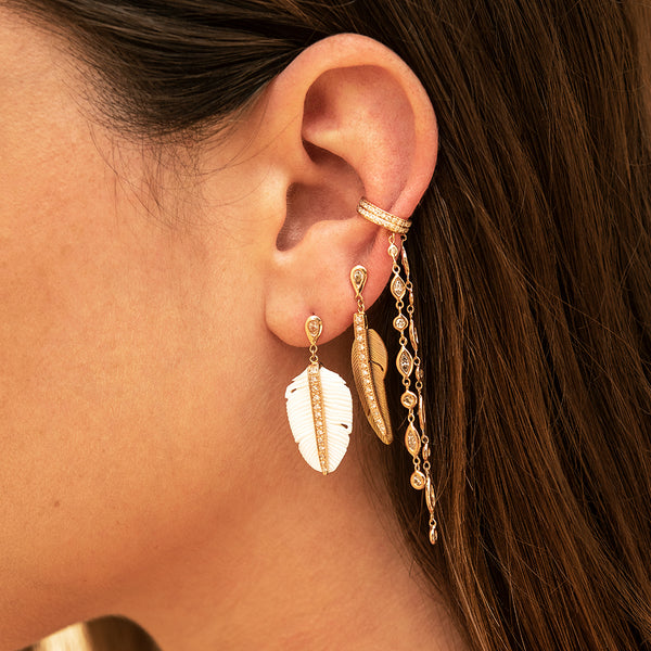 TEARDROP DIAMOND + PAVE PEARL FEATHER DROP STUD EARRING