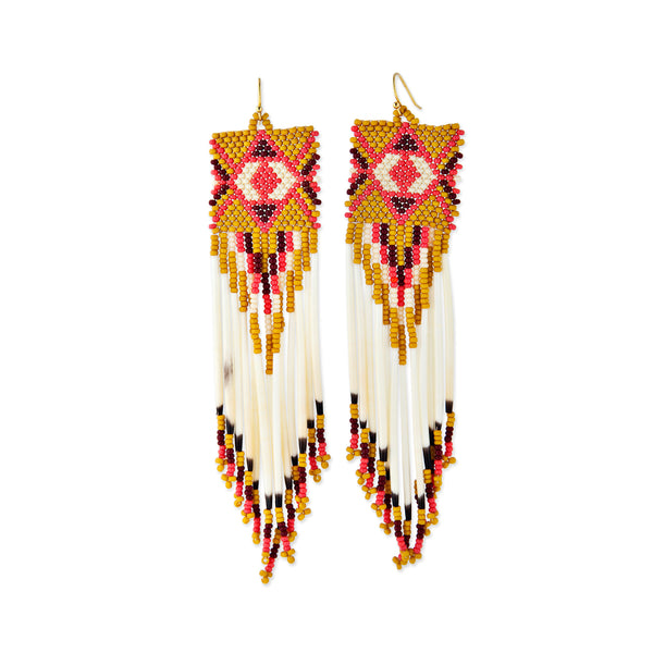 MUSTARD + CORAL BEADED PORCUPINE QUILL EARRINGS