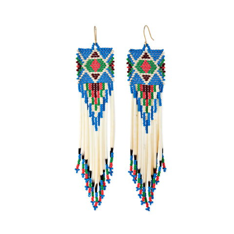TURQUOISE + CORAL BEADED PORCUPINE QUILL EARRINGS