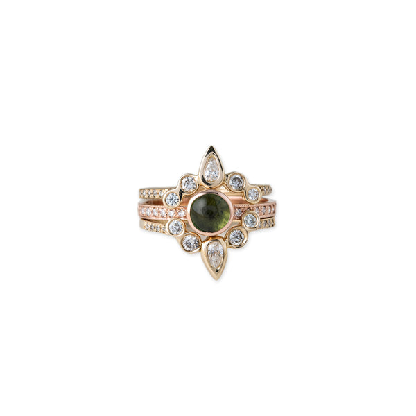 PAVE DIAMOND ROUND GREEN TOURMALINE RING