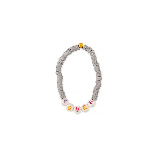 ZOE AICHE GREY HEISHI BEADED WORD BRACELET