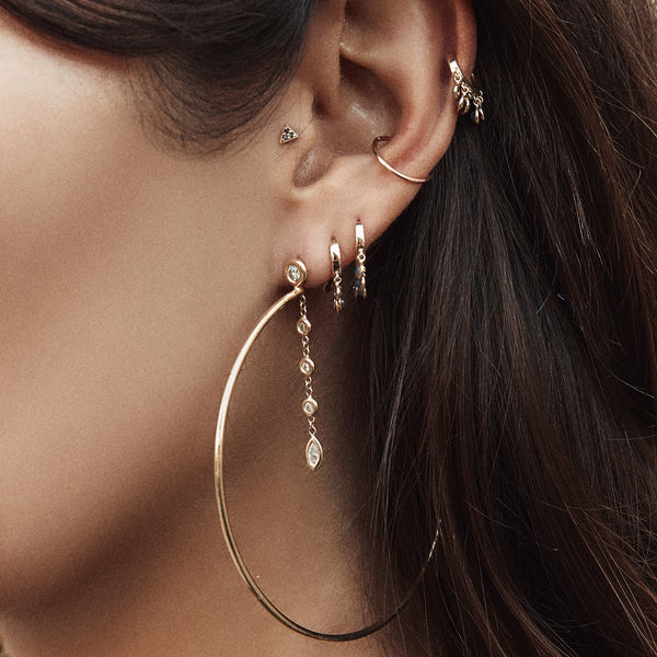ROUND + MARQUISE DIAMOND DROP HOOPS