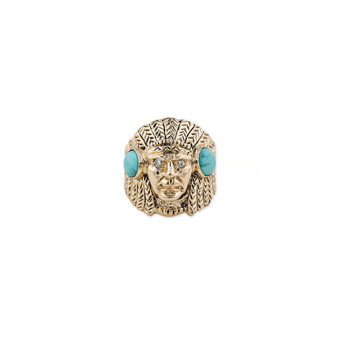 TURQUOISE CARVED CHIEF RING