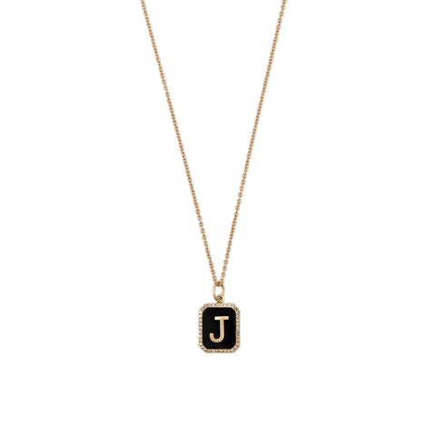 ONYX PAVE ALPHABET CHARM WITH CHAIN