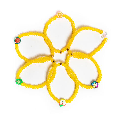 ZOE AICHE YELLOW BEADED CHARM BRACELET