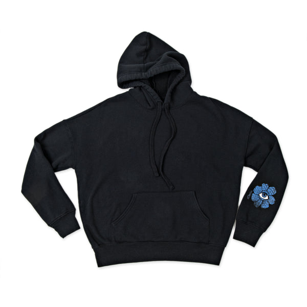 BLUE FLOWER TRIBE CIRCLE BLACK HOODIE