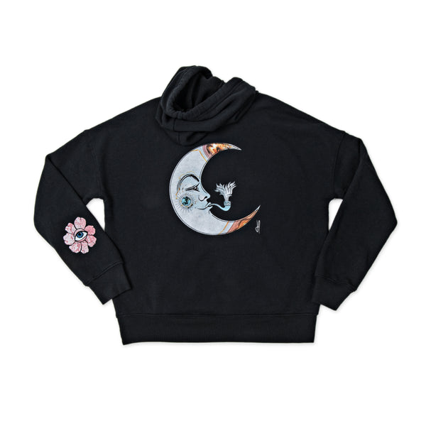 PINK FLOWER CRESCENT MOON BLACK HOODIE