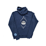 EYE BURST + FLOWER EYE NAVY HOODIE