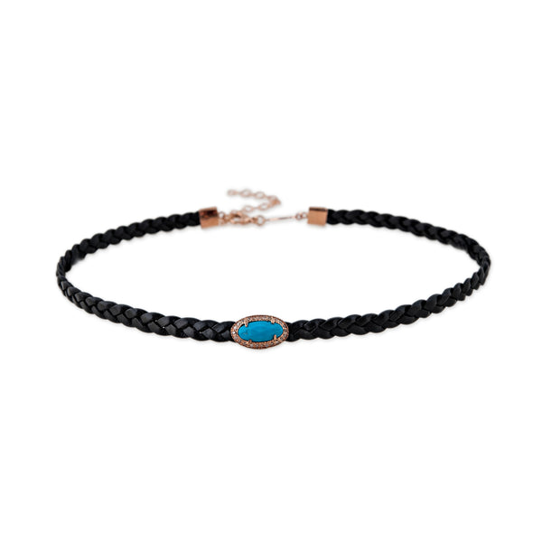 OVAL TURQUOISE BLACK CHOKER NECKLACE
