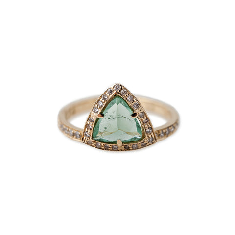 GREEN TOURMALINE TRIANGLE PYRAMID STACK RING