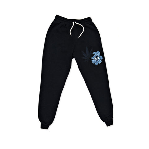 SWEET LEAF FLOWER EYE BLACK SWEATPANTS