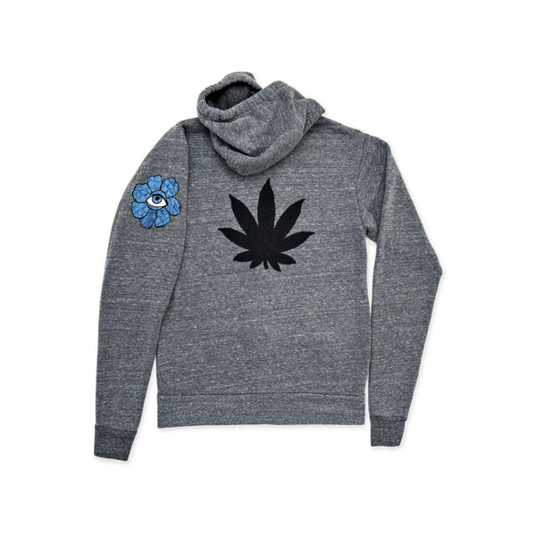 SWEET LEAF + FLOWER EYE GREY ZIP HOODIE