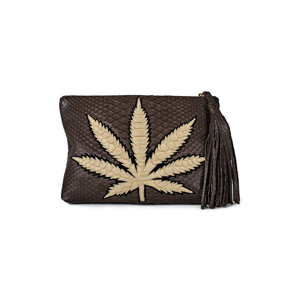 SWEET LEAF CLUTCH - TAN + CHOCOLATE