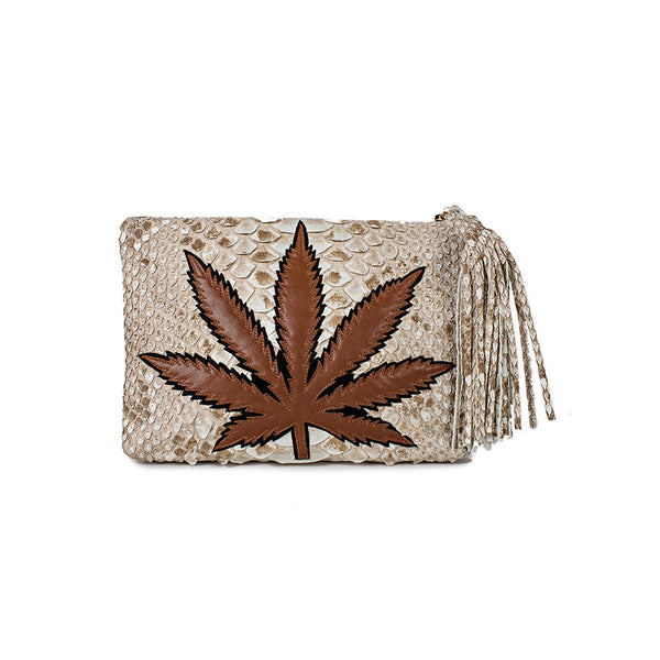 SWEET LEAF CLUTCH - BROWN + TAN MARBLE