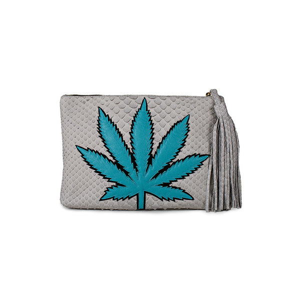 SWEET LEAF CLUTCH - TURQUOISE + GREY