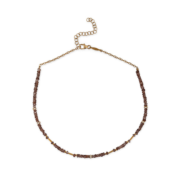 SMOKEY QUARTZ BEADED CHOKER