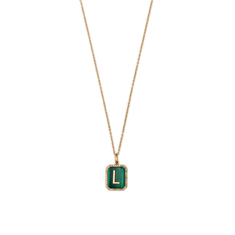 MALACHITE PAVE ALPHABET CHARM WITH CHAIN
