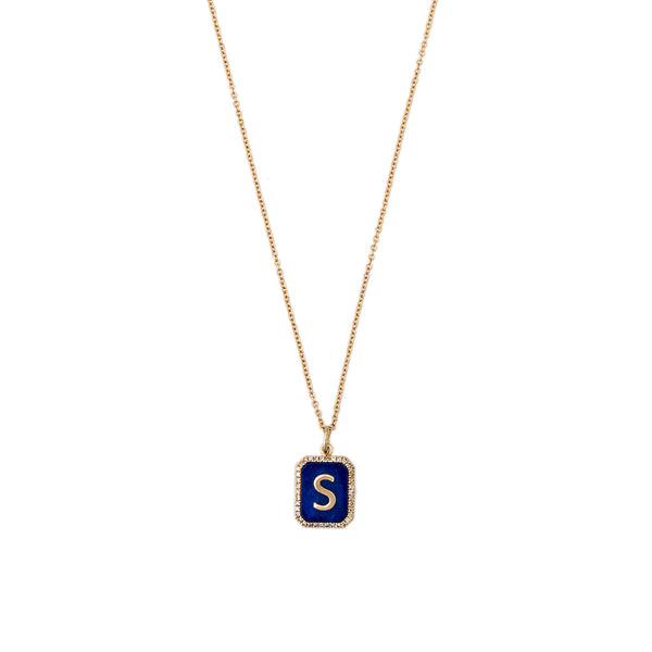 LAPIS PAVE ALPHABET CHARM WITH CHAIN