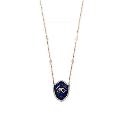 LAPIS INLAY EYE SHIELD NECKLACE