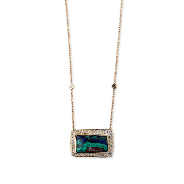 LAPIS MALACHITE WINDOW NECKLACE